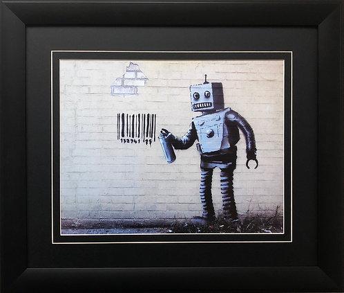 """BANKSY """"Robot"""" CUSTOM FRAMED Art Print"""