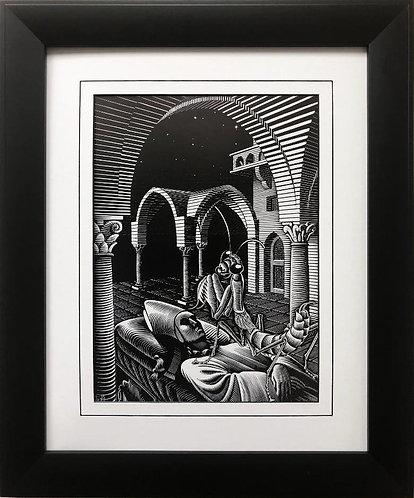 "M.C.Escher ""Dream '35"" CUSTOM FRAMED Art"