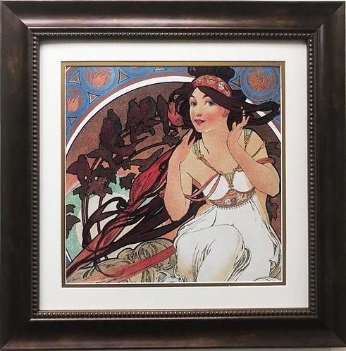 """Alphonse Mucha """"The Arts: Music"""" 1898 (detail) CUSTOM FRAMED ART"""