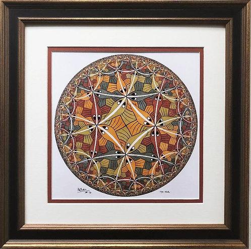"M.C.Escher ""Circle Limit III"" CUSTOM FRAMED Ar"