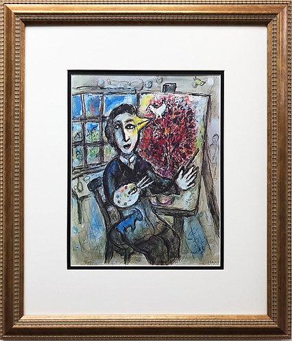 "Marc Chagall ""La Peintre- Oiseau"" Newly CUSTOM FRAMED Rare Offset Lithograph"