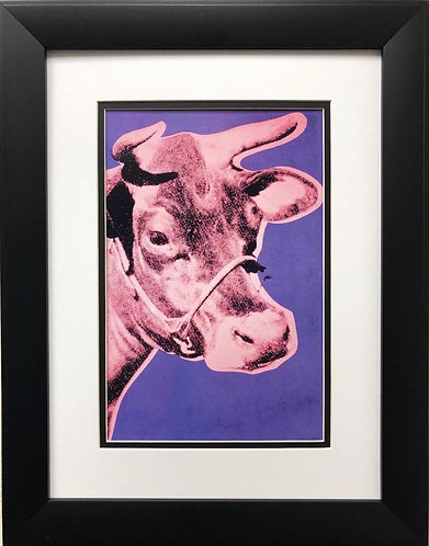 """Andy Warhol """"Cow Poster"""" (Pink/Purple) CUSTOM FRAMED Pop Art Lithograph"""