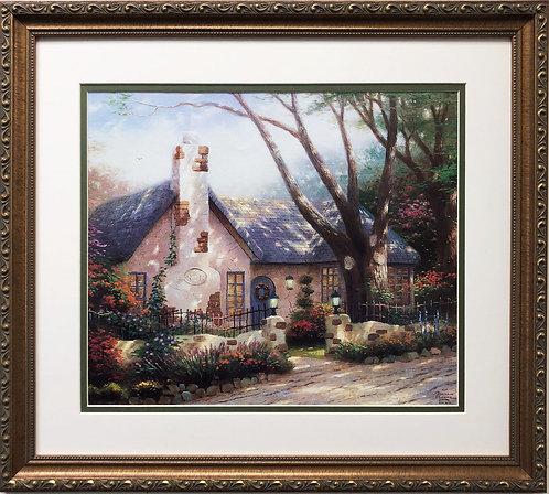 """Thomas Kinkade """"Morning Glory Cottage"""" Newly CUSTOM FRAMED Art LIGHT spring"""