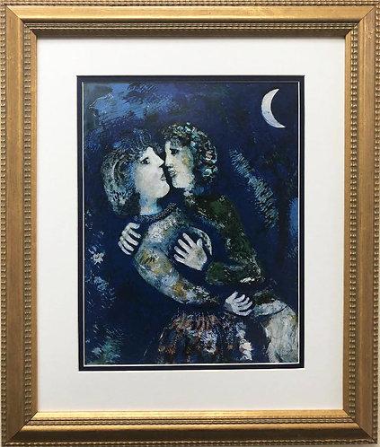 "Marc Chagall ""Lovers with Half Moon"" New CUSTOM FRAMED Art"