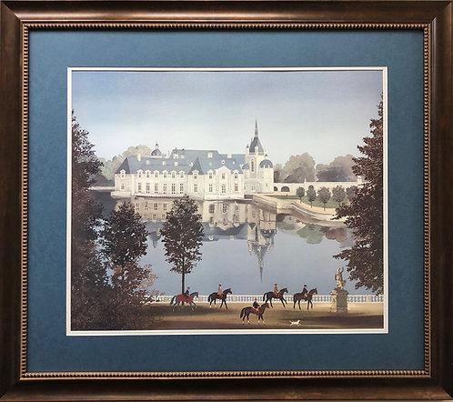 "Michel Delacroix ""La Chateau de Chantilly"" Custom Framed  Art  France Litho"