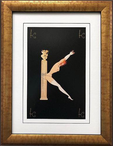 """Erte """"K"""" CUSTOM FRAMED Vintage Print Art Deco Alphabet Letter Suite"""