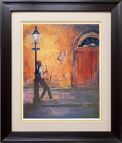 "Ted Ellis ""Bourbon Street"" Signed &# FRAMED Art"