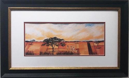 "Emile Gerard ""Bundu Landscape II"" CUSTOM FRAMED African Art Print"