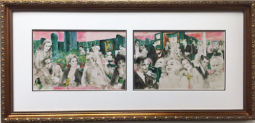 "LeRoy Neiman ""The Polo Lounge"" CUSTOM FRAMED Art - Marilyn Bogart Sammy Davis JR"