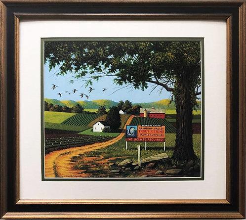 """Charles Wysocki """"Angler's Eden"""" New CUSTOM FRAMED Art"""