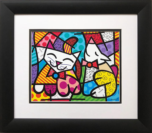 "Romero Britto ""Happy Cat & Snob Dog"" NEWLY CUSTOM FRAMED Art Print - POP cubism"
