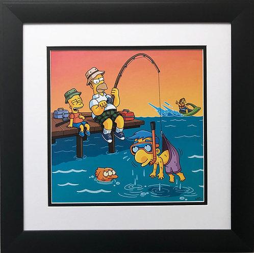 """Matt Groening """"Homer Fishing with Bart"""""""