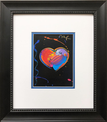 "Peter Max ""Black Series: Heart""  Newly CUSTOM FRAMED Print  POP ART Contemporary"
