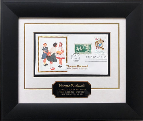 """Norman Rockwell """"The Missing Tooth"""" First Day Stamp Limited Edition Framed Art"""