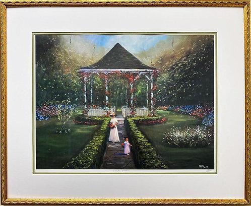 "Ted Ellis ""Garden Walk"" Hand Signed FRAMED African American Art"