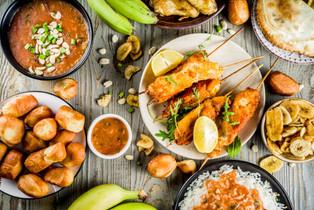West african food assortment. Banana, cassava.