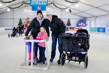 Family stroller skating at the Bellevue Downtown Ice Rink
