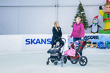Two moms stroller skating at the Bellevue Ice Rink