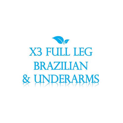Full Leg, Brazilian, Underarm x3