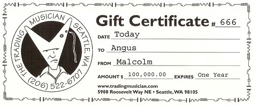 Trading Musician Gift Certificate