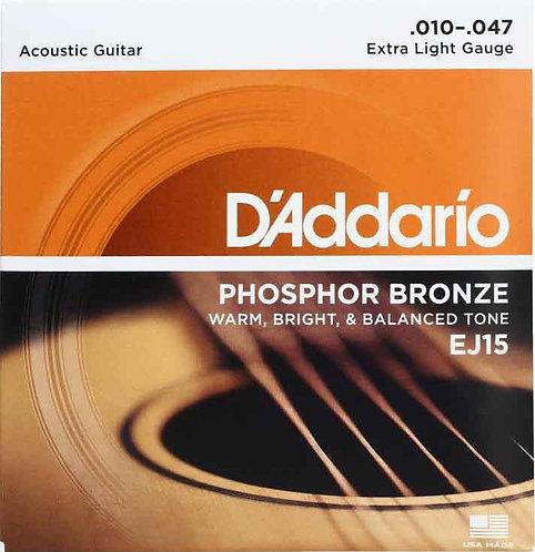 D'Addario EJ15 Phosphor Bronze Extra Light (4 Pack)