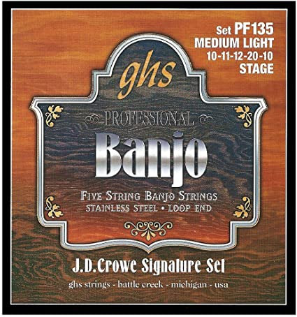 GHS PF135 J.D. Crowe Signature Stage Medium Light 5-String Banjo (6 Pack)