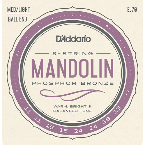 D'Addario EJ70 Medium / Light Ball End Mandolin (4 Pack)