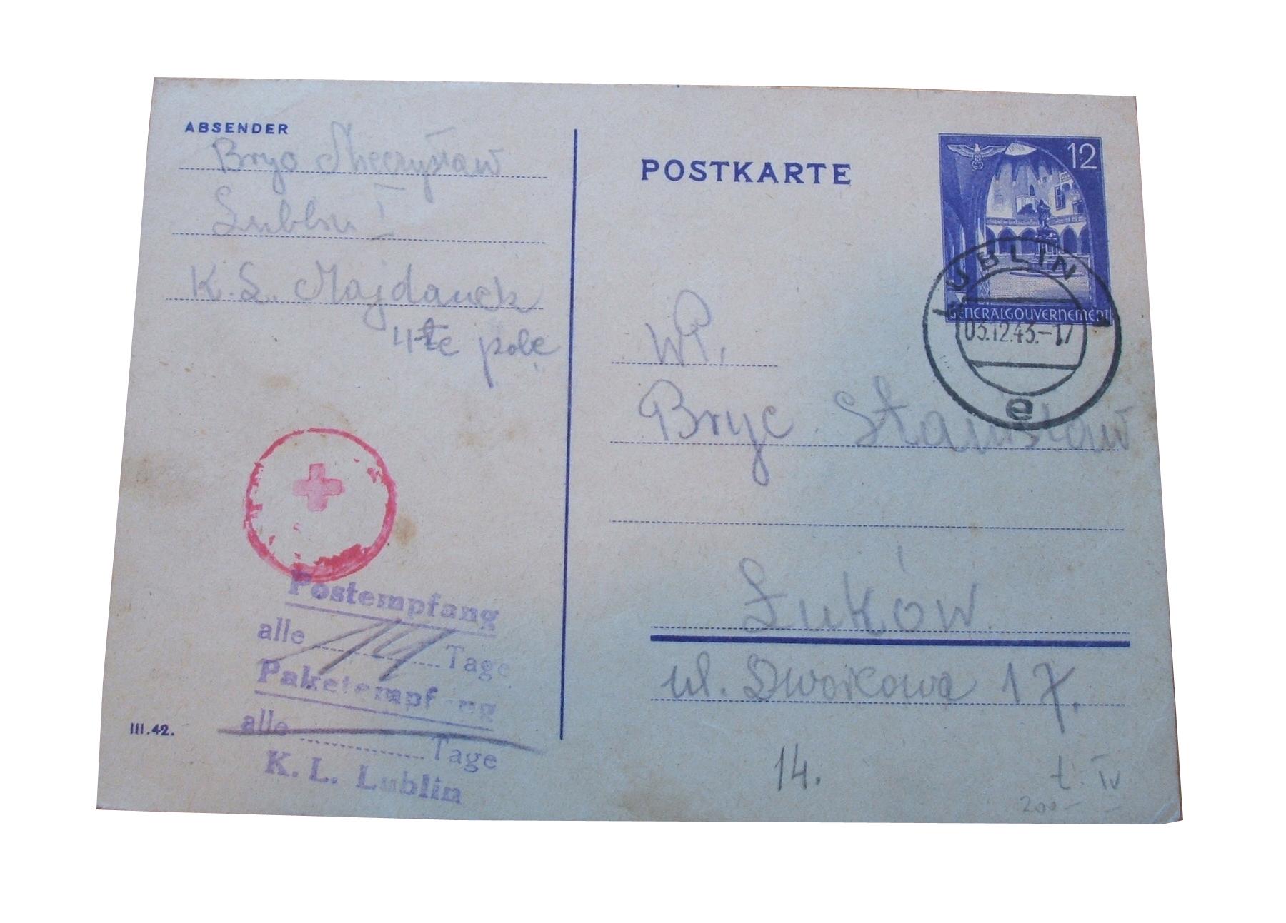 Majdanek Prisoner Letter