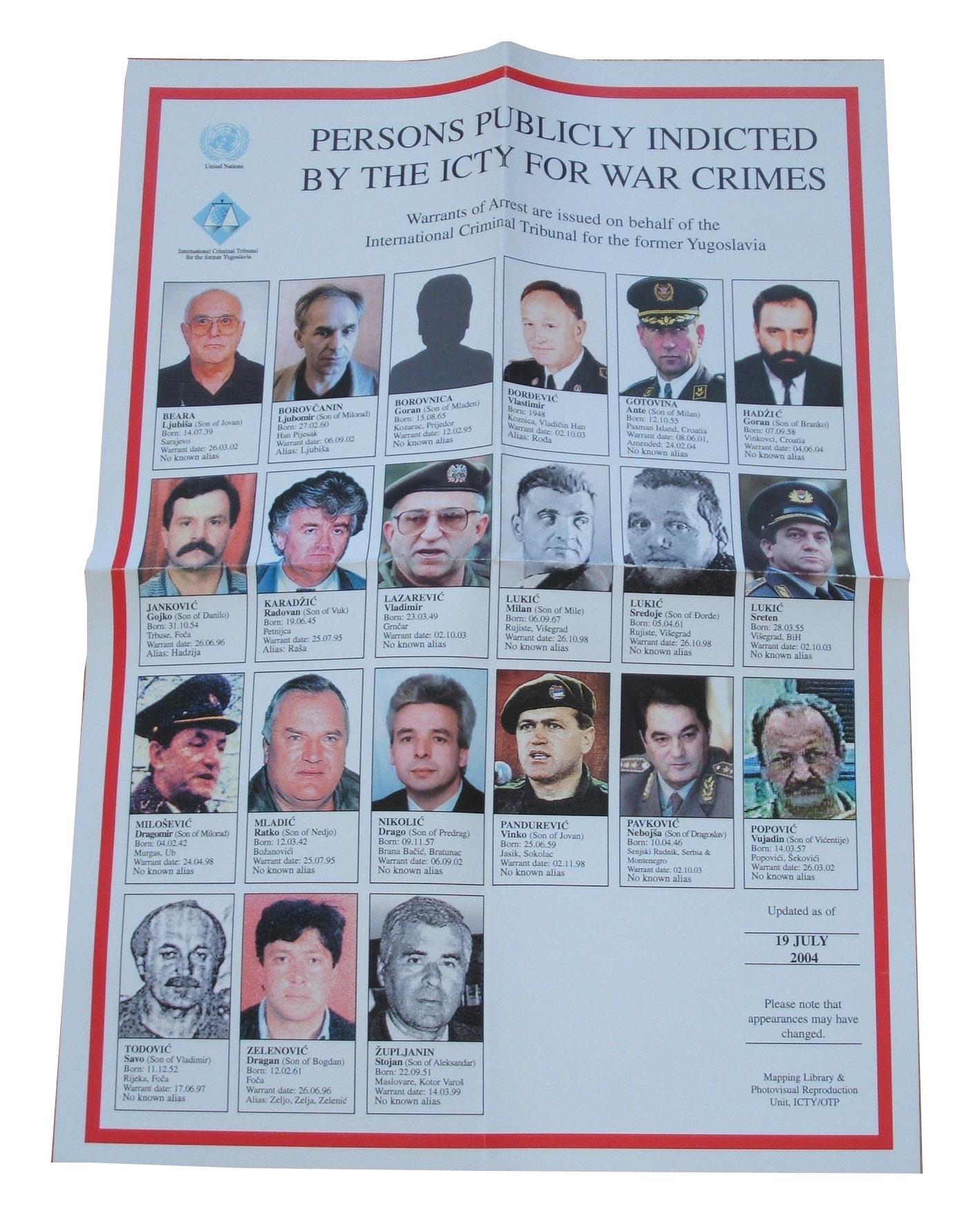 UN Criminal Tribunal Wanted Poster