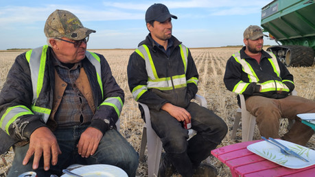 Dave, George, and Adam have supper in the field.