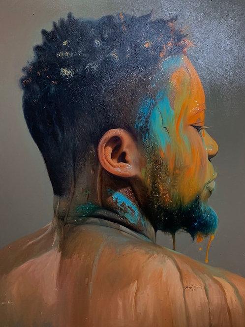 """Rainbow man 16"""" x 20""""  Oil on canvas  2018/2019"""