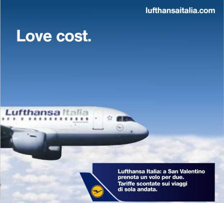 Valentine day offer by Lufthansa. OOH Advertising