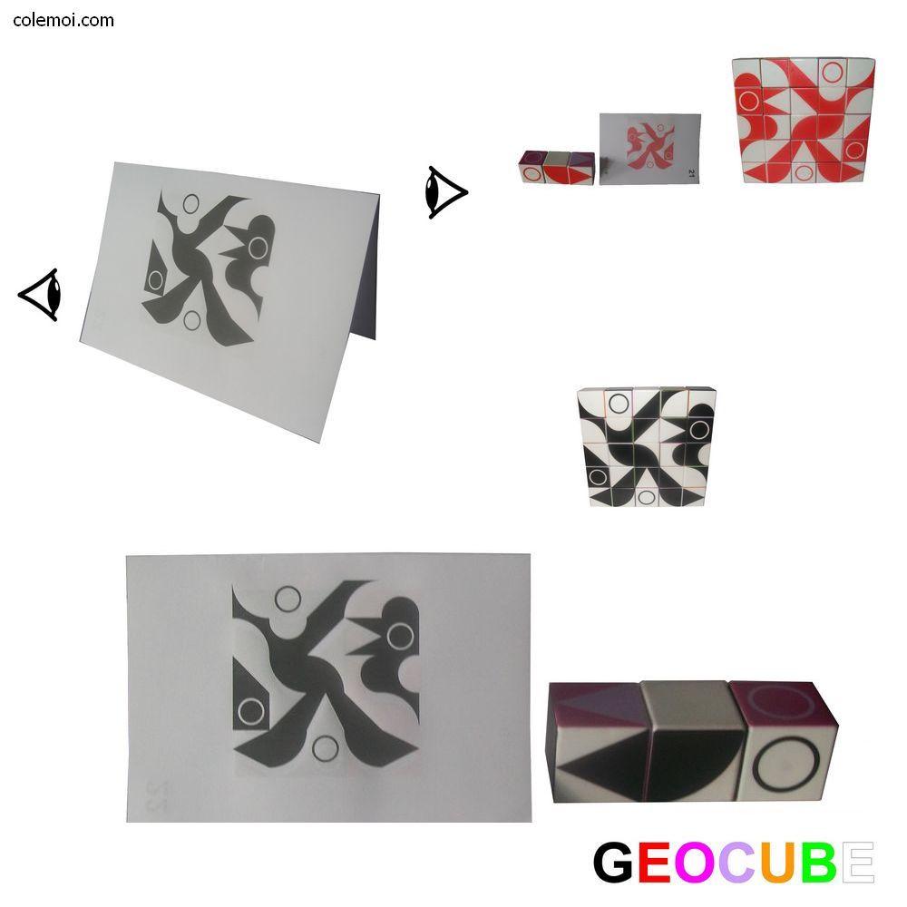 Deux joueurs réalisent le modèle avec les mêmes cubes et des couleurs différentes.
