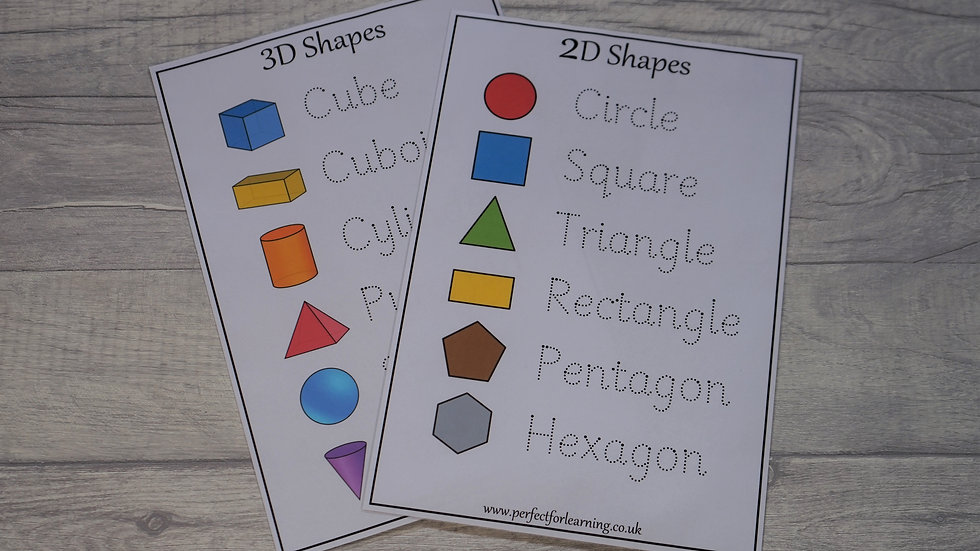 2D and 3D Shape Handwriting Activities