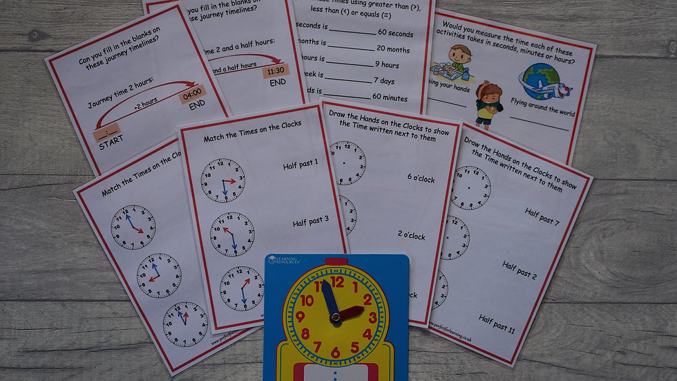 Year 1 Time Activity Cards and Wipe-Clean Learning Clock