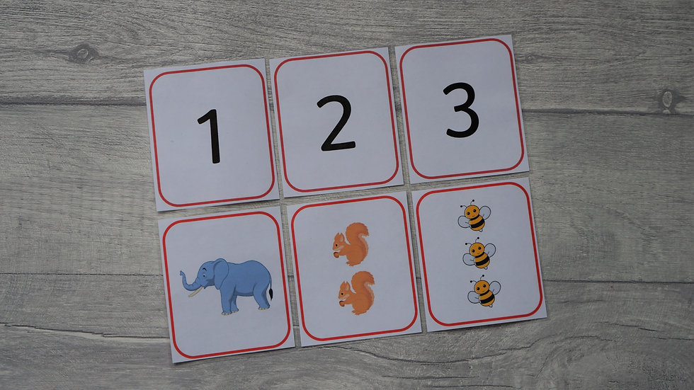 Matching Number Flashcards 1-20