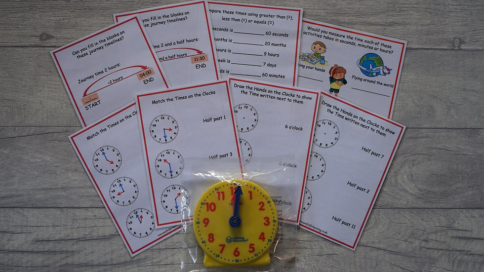 Year 1 Time Activity Cards and Geared Mini-Clock