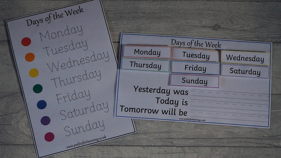 Days of the Week Ordering and Handwriting Activity