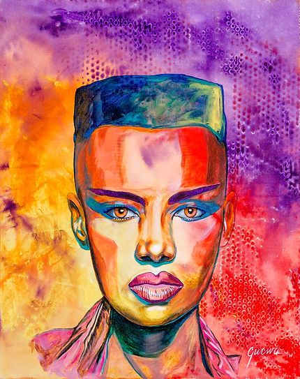 One of Gucwa's Fauvism style paintings of Grace Jones.
