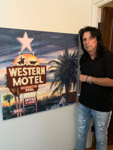 Alice Cooper standing with 'Western Motel.'
