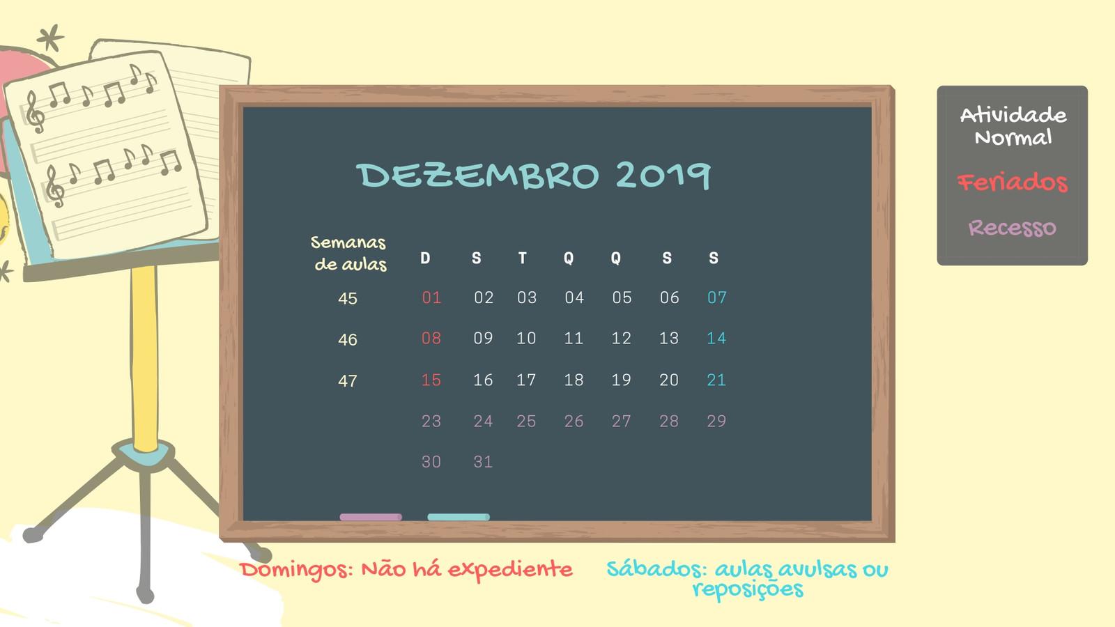Calendario D.Calendario De Aulas Dezembro 2019 Jpg