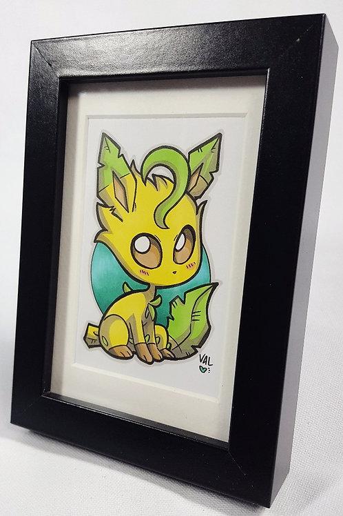 Leafeon  - Framed Original Art
