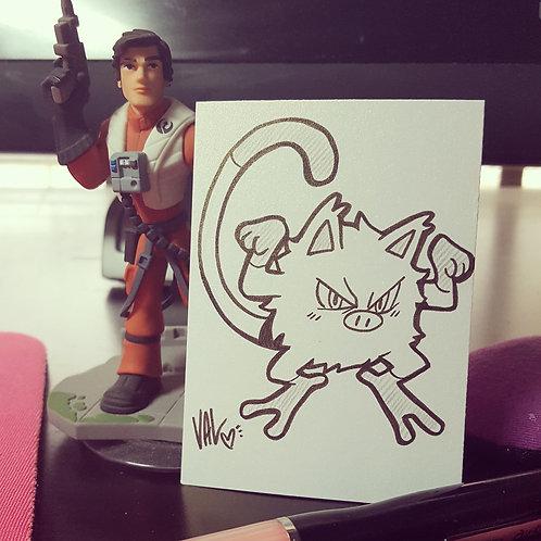 #056 - Mankey - Pokemon Art Card