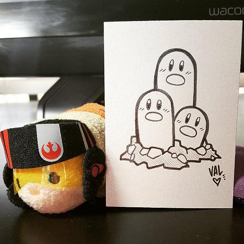 #051 - Dugtrio - Pokemon Art Card