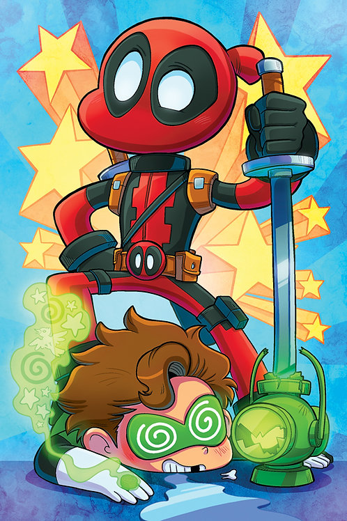 Deadpool vs Green Lantern - Mini Print