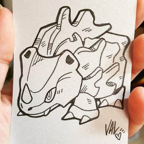 #111 - Rhyhorn - Pokemon Art Card