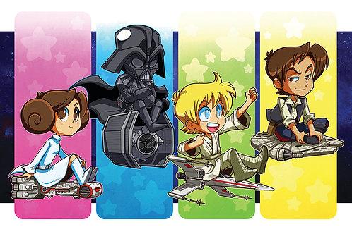Cute Star Wars Ships - Mini Print
