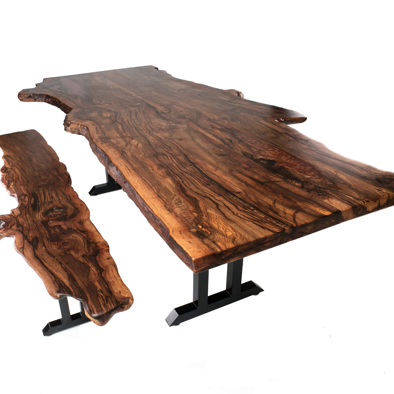 Black Cherry Live Edge Dining Table and bench combo made from rare figured AZ reclaimed black cherry from Cottonwood/Jerome.