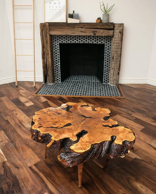 Rustic Mesquite Burl Coffee Table with Matching Burl Lathe-Turned Spindle Legs