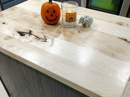 Bleached Maple Kitchen Island Hardwood Countertop